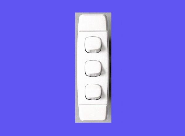 narrow light switch three buttons for door jam