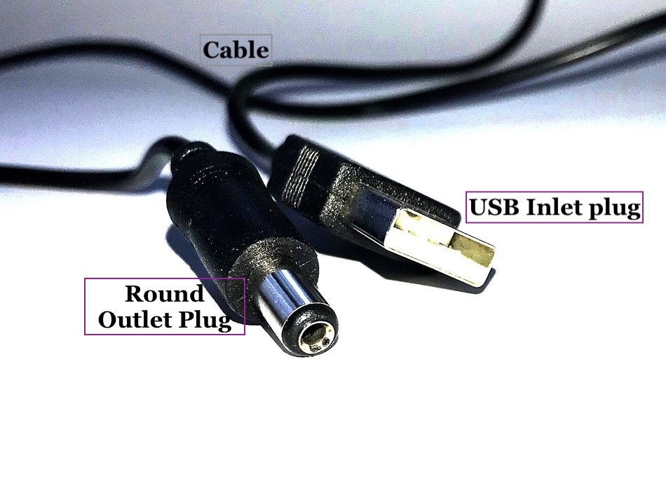 usb charge cable with round plug