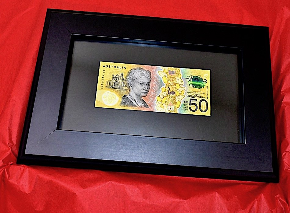 edith cowan mint uncirculated banknote condition goldified with real gold banknote frame thegoldmakers