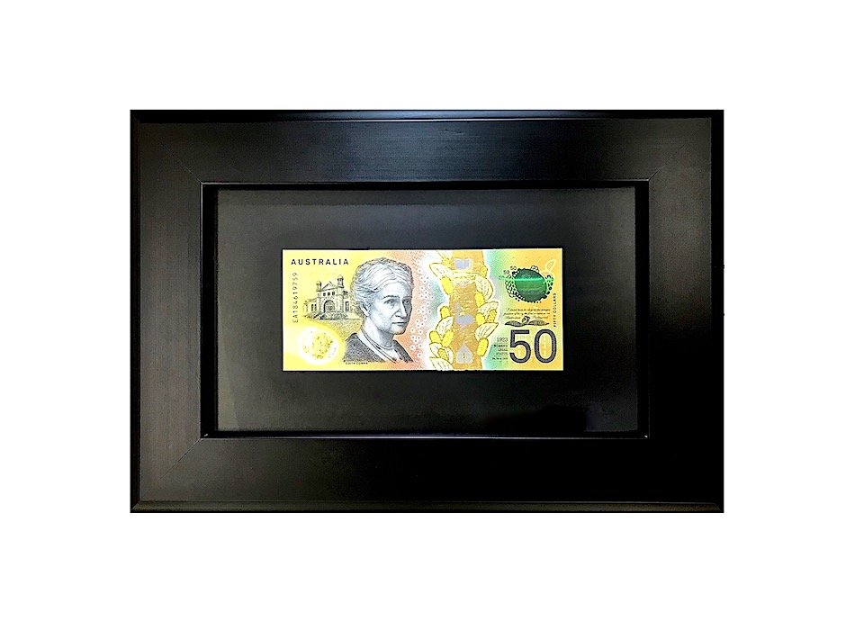 real mint condition 50 dollar edith cowan goldified bank note with real gold frame