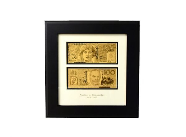 supurb quality gold banknote 100 dollar austraian bill from thegoldmakers big frame gmaproducts